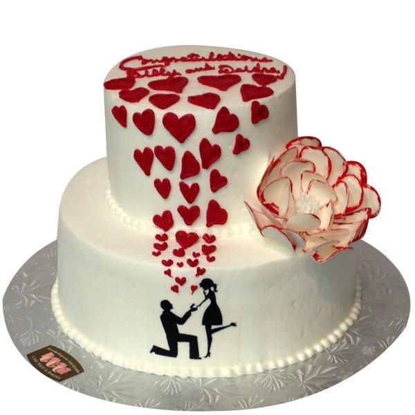 2 Tier Lovely Engagement Cake