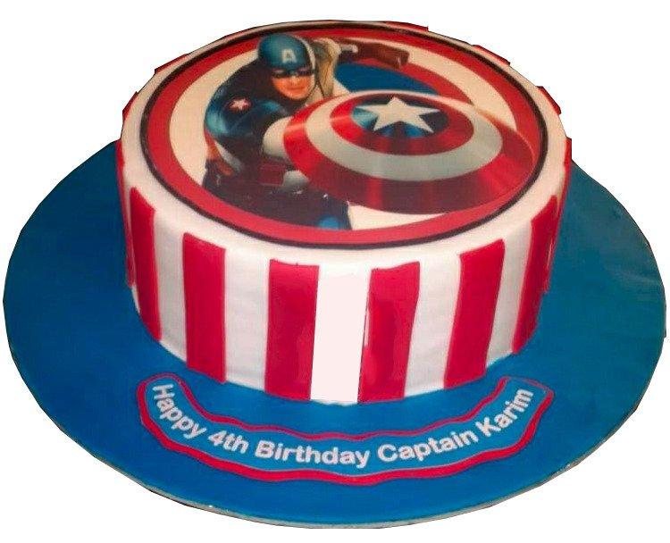 Captain America Photo Cake