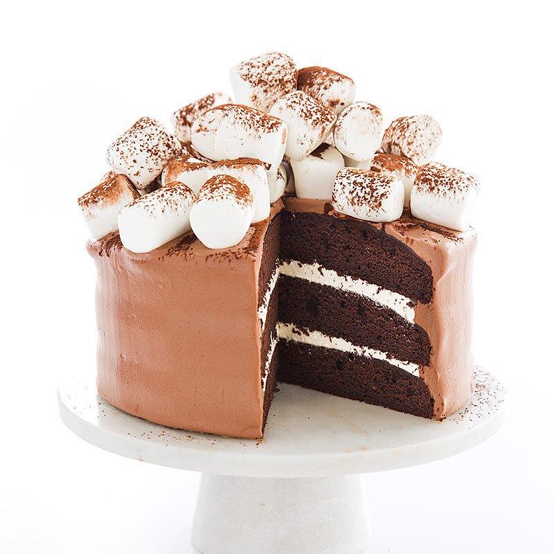Chocolate cake garnished with white chocolate slabs