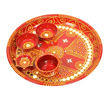 Decorated Hand Painted Puja Thali