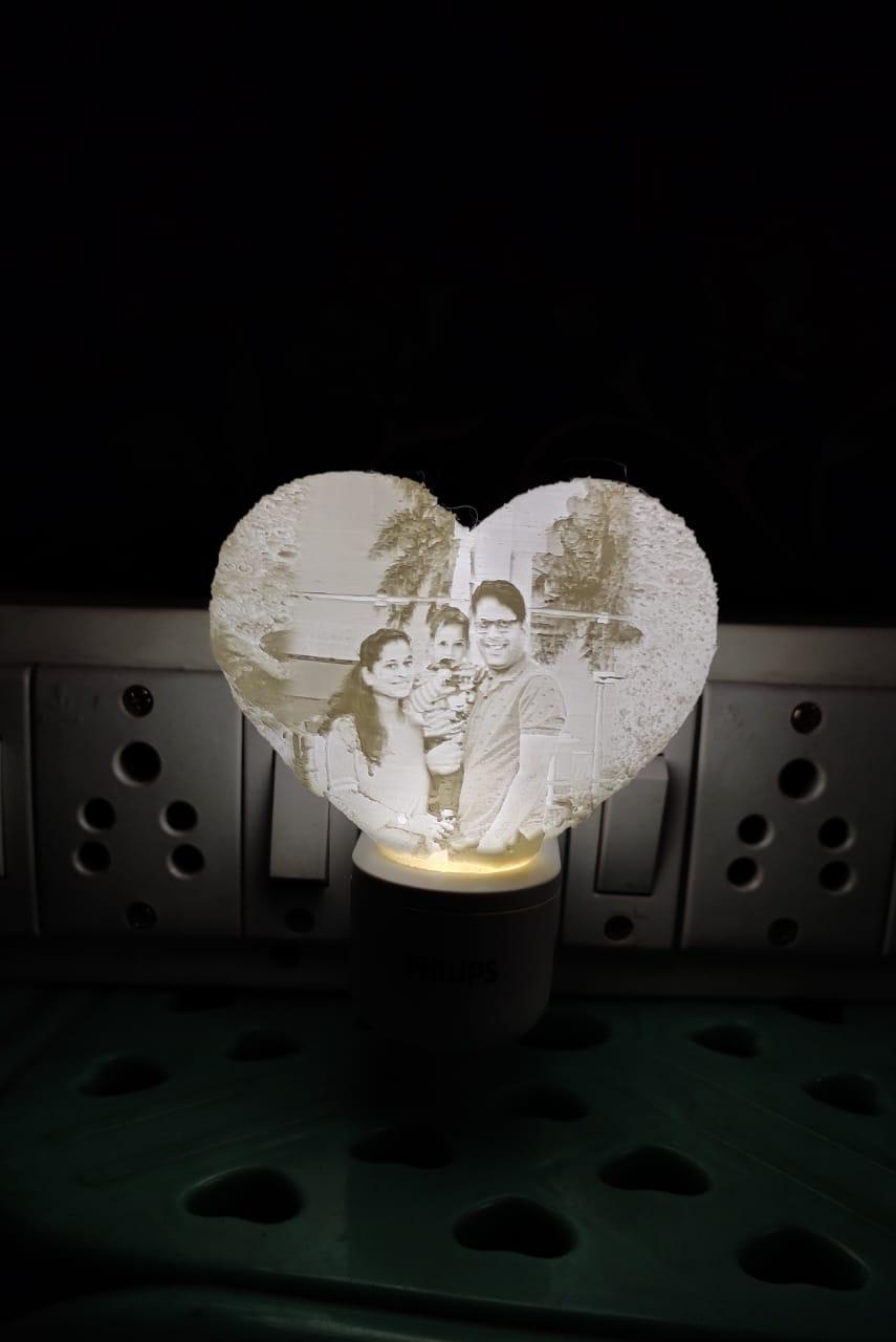 Customised Heart Magic Photo Night Light plug type Lithophane