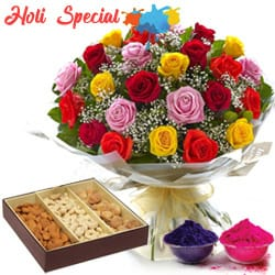 Holi Special Dryfruit With Flowers
