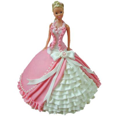 Pink White Barbie Doll Cake