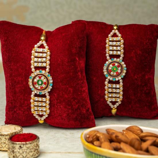 Set Of 2 Moti Diamond Rakhi For Brother