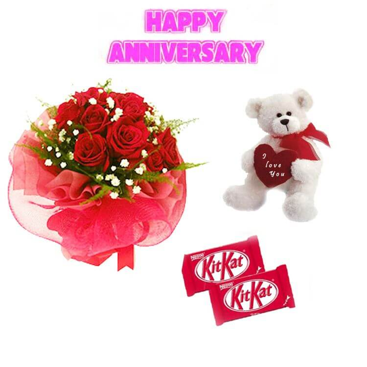 anniversary-roses-cake-teddy-red-roses-bouquet