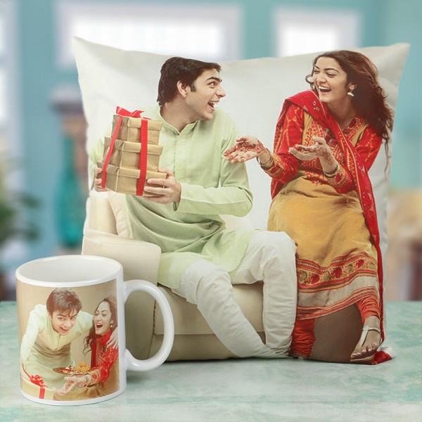 Customised Bhai Dooj Photo Cushion and Mug