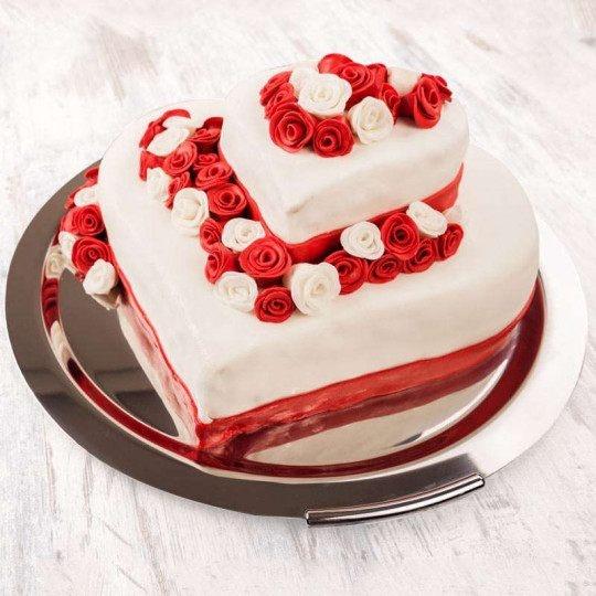 heart shape two layer red velvet cake