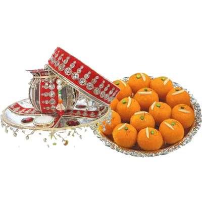 karwa chauth puja set with laddu