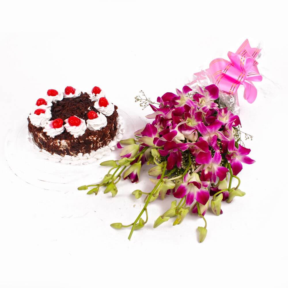 orchids-with-half-kg-black-forest