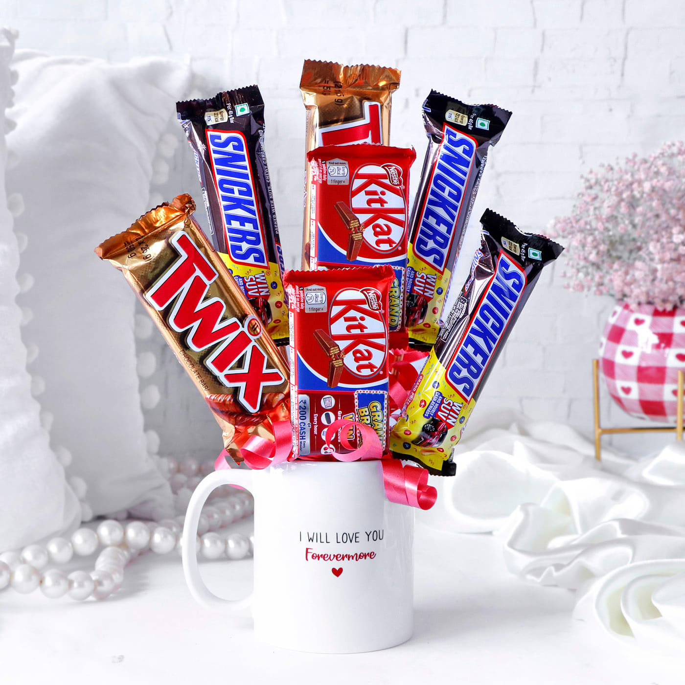 Snickers with Kitkat & Twix Chocolate Arrangement in Mug