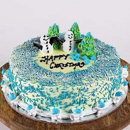 Snowman & Xmas Tree Chocolate Cake