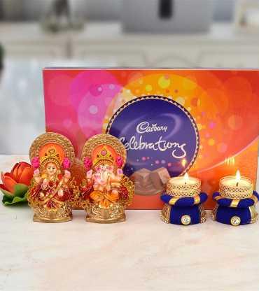 Cadburry Celebration with Mitti Laxmi Ganesh along 2 Purple Diya