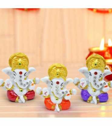 Set Of 3 Mini Ganesha Idols