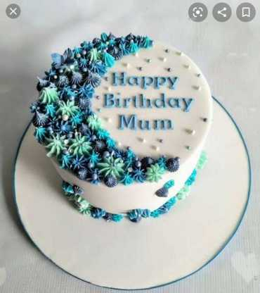 Blue Birthday Moon Cake