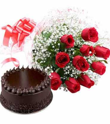 Bouquet-of-10-red-rose-with-a-half-kg-chocolate-cake