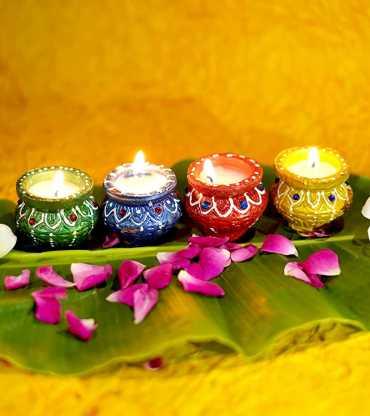 Decorative Diya 4 Set Tealight Candle
