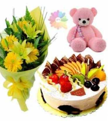Fruit--CAKE-teddy-bear-and-bouquet.