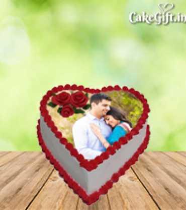 Anniversary heart shape Photo Cake