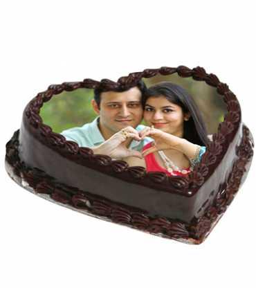 Heart Shape Chocolate Photo Cake