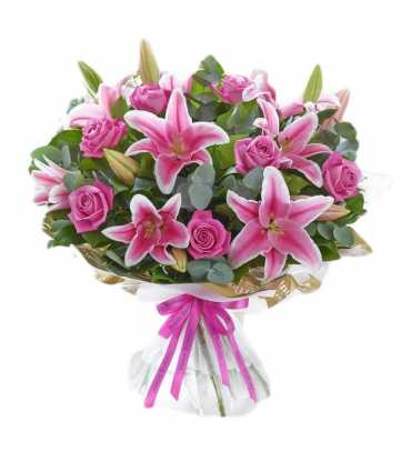 Lilly-Pink-Roses-Arrangement