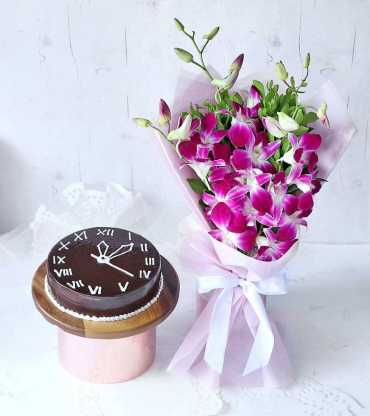 Orchids-with-Half-Kg-Chocolate-Cake