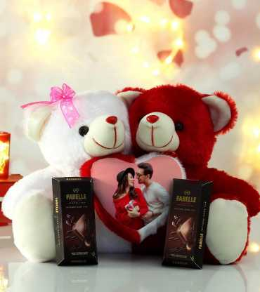Personalized Couple Teddy with Fabelle Chocolates