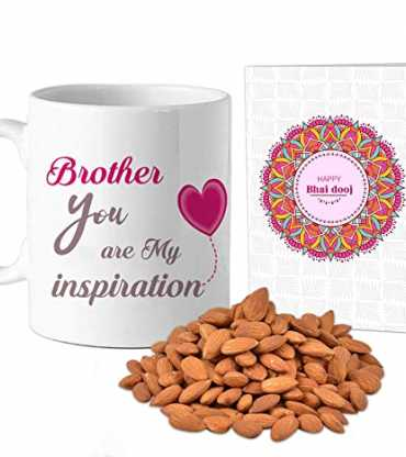 Personilsed Mug and Almonds with Bhai Dooj Card