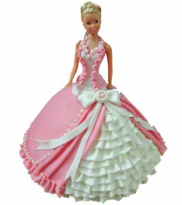 Pink White Barbie Doll Cake
