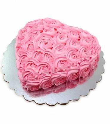 Pink Flower Heart Shape Cake