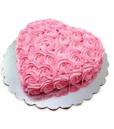Pink Flower Heart Shape Cake