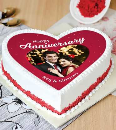 Red Heart Shap Photo Cake