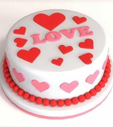 Round Shape Valentine Love Fondant Cake