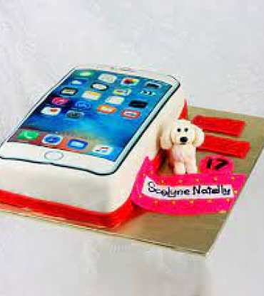 Small Dog And iPhone Cake