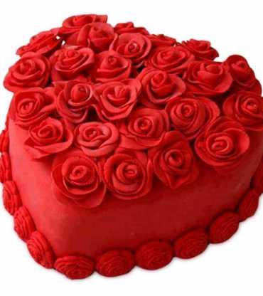 Strawberry Heart Shape Red Rose Cake