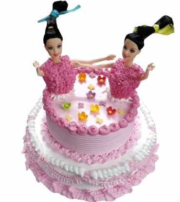 Twin doll cake for birthday