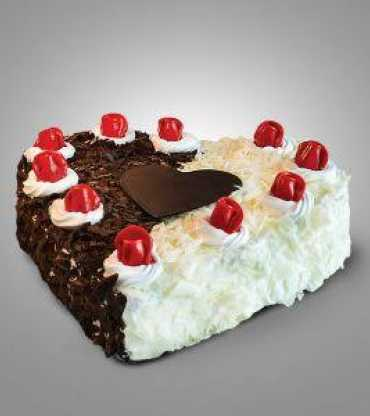 White and black forest cake