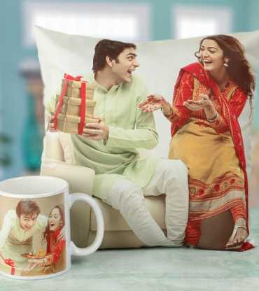 Customised Bhai Dooj Photo Cushion and Mug