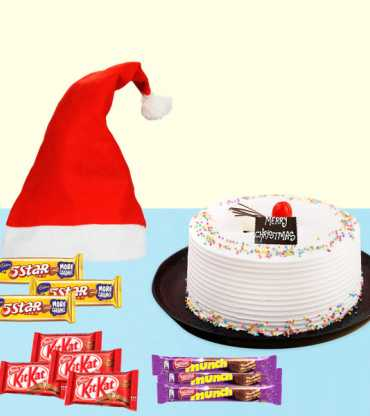 Xmas Gifts With Vanilla Cake