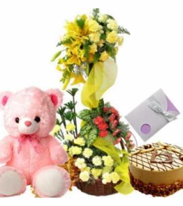 cake-teddy-bear-and-flower-arrangement