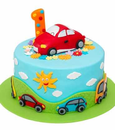 Cut Racing Car Kids Cake