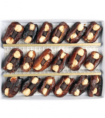Hazelnut and Chocolate Stuffed dates