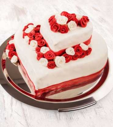 heart shape two layer red velvet cake
