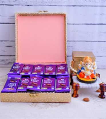 Ganesha with Chocolates and Almonds Diwali Combo