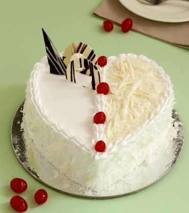 Heart Shape White Forest Cake