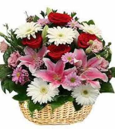 lily-carnation-roses-basket