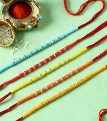 Ring Rakhis with Multicolour Beads (Set of 5)