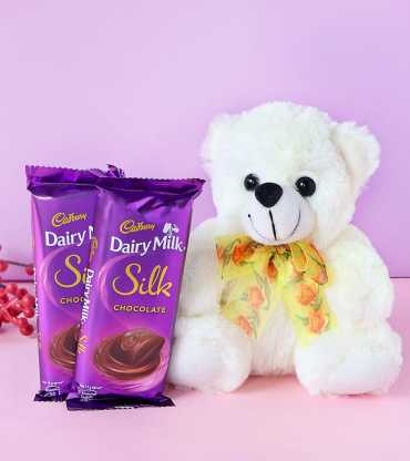 Teddy Bear with Cadbury Dairy Milk Silk Bars