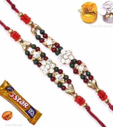 Dazzling Beads Two Brother Rakhi Set