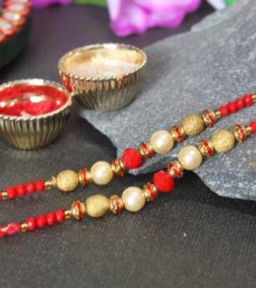 Golden and Red Beaded Designer Pearl Rakhis