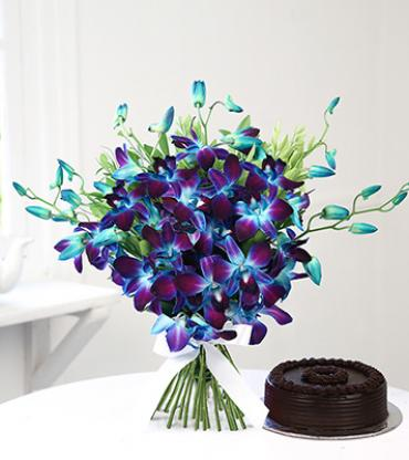 Beautiful-6-blue-orchid-with-half-kg-chocolate-cake